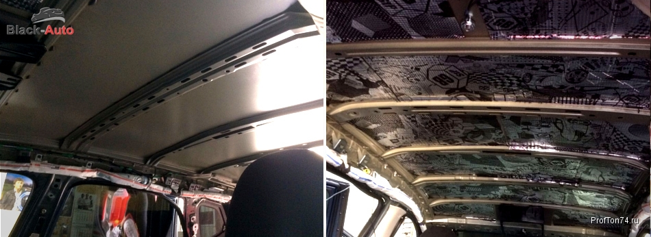 Шумоизоляция потолка салона